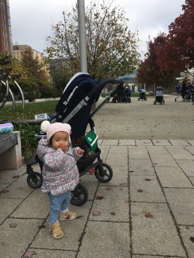 Taking a little time outside of the stroller before class