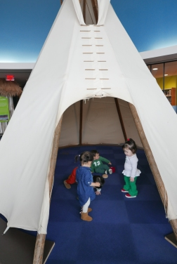 Full-size tipi with buffalo materials inside