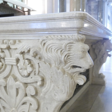 Marble table with delicate carvings