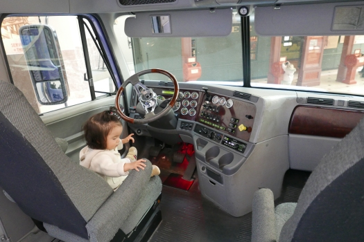 Huge truck, tiny toddler