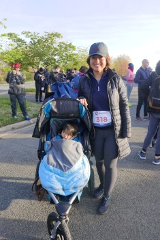 Participating in a 5K run with our toddler for the 1st time