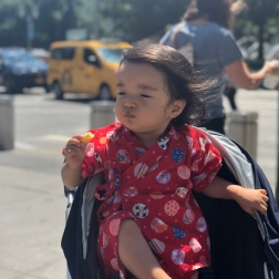 Snacking on her stroller in NYC